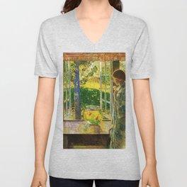 Classical Masterpiece 'The Goldfish Window' by Frederick Childe Hassam Unisex V-Neck