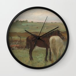 Horses in a Meadow Wall Clock