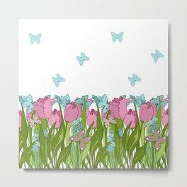 Pink tulips . Spring. Metal Print