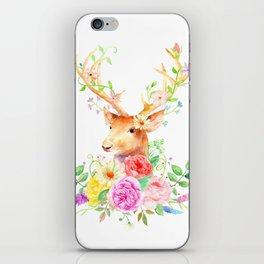 Watercolor Deer and Rose Bouquet iPhone Skin
