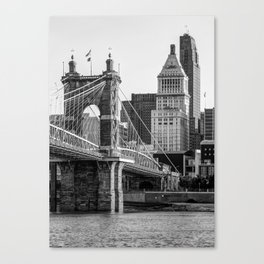 Cincinnati Skyscrapers and Roebling Bridge - Black and White Canvas Print