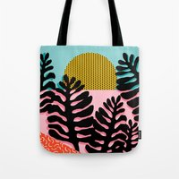 coachella Tote Bags featuring B.F.F. - throwback 80s style memphis design neon art print hipster brooklyn palm springs resort patt by Wacka