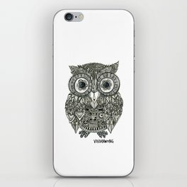 Zentangle Owl Fineliner Pen Drawing iPhone Skin