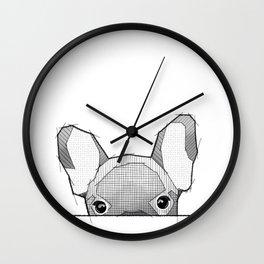 Hiding Frenchy  - white Wall Clock
