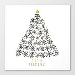 Snowflakes Tree (black gold) Canvas Print