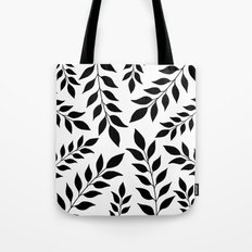 Black Leaves Pattern Tote Bag