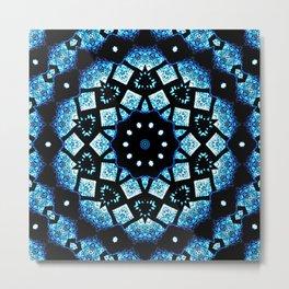 Blue Black Mosaic Kaleidoscope Mandala Metal Print