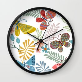 Cute, Colorful, Butterfly and Floral Garden Wall Clock