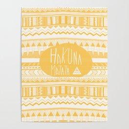 Hakuna Matata tribal navajo yellow Poster