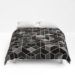 Black geometry / hexagon pattern Comforters