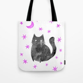 Black Cat with Pink Stars Tote Bag