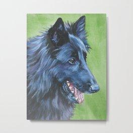 Groenendael Belgian Sheepdog dog art portrait from an original painting by L.A.Shepard Metal Print