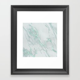 Marble Love Mint Metallic Framed Art Print