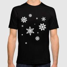 Snowflakes | Black & White Black Mens Fitted Tee MEDIUM