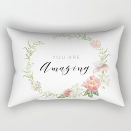 Wreath You are Amazing. Pink flowers Rectangular Pillow