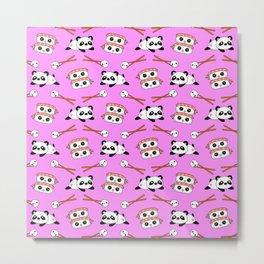 Cute funny Kawaii chibi little playful baby panda bears, happy sweet cheerful sushi with shrimp on top, rice balls and chopsticks light pastel pink pattern design. Nursery decor. Metal Print