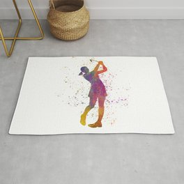 Female golf player competing in watercolor 04 Rug