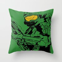 master chief Throw Pillows featuring Halo Master Chief by Ashley Rhodes
