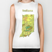 indiana Biker Tanks featuring Indiana Map by Roger Wedegis