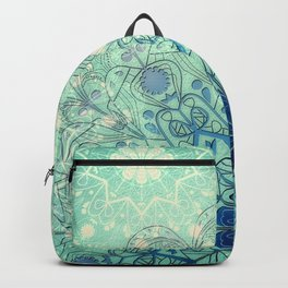 Mandala in Sea Green and Blue Backpack