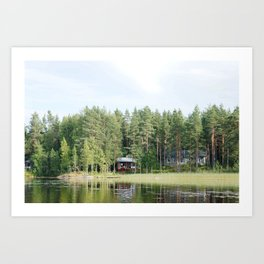 Cabin by the lake in Finland Art Print