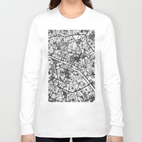 paris Long Sleeve T-shirts featuring Paris by Mondrian Maps