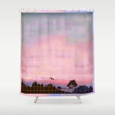 Plaid Landscape Tranquil Sunset Shower Curtain