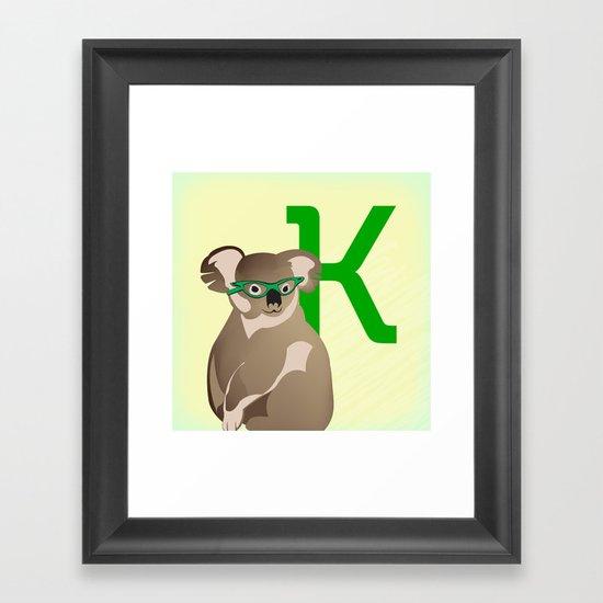 K for Koala Framed Art Print