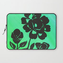 Green Silhouette Roses Varigated Background Acrylic Art Laptop Sleeve