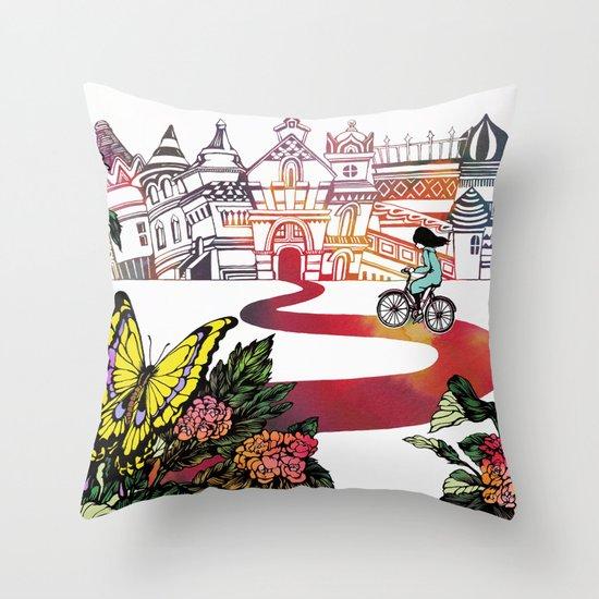 Summer Cycling Throw Pillow