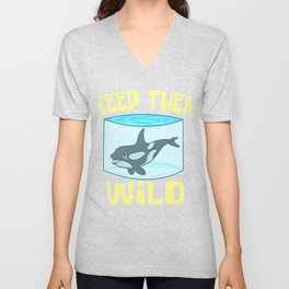 """A Perfect Gift For Wild Friends Saying """"Keep Them Wild"""" T-shirt Design Dolphin Sea Creatures Whales Unisex V-Neck"""