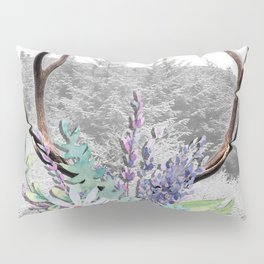 Floral Stag antlers b/w Pillow Sham