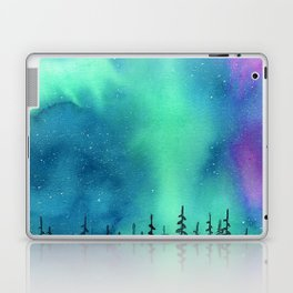 """Wilderness Lights"" Aurora Borealis watercolor landscape painting Laptop & iPad Skin"