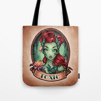 pinup Tote Bags featuring TOXIC pinup by Tim Shumate