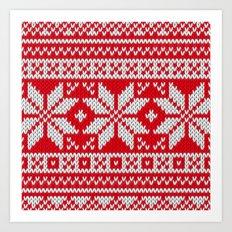 Winter knitted pattern 3 Art Print