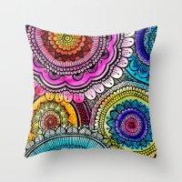 mandala Throw Pillows featuring mandala by goyye