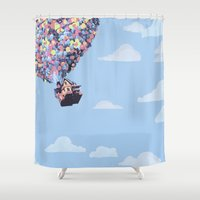 pixar Shower Curtains featuring disney pixar up.. balloons and sky with house by studiomarshallarts
