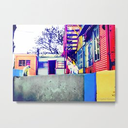 Two Cats on a Wall 2 Metal Print