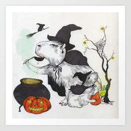 Halloween capybaras Art Print