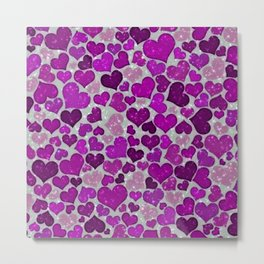 Sparkling Hearts,purple Metal Print