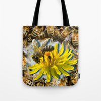 bees Tote Bags featuring Bees by Moody Muse