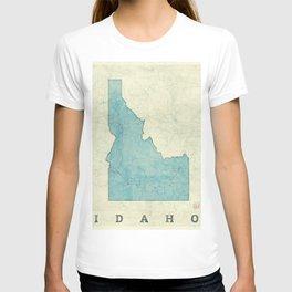Idaho State Map Blue Vintage T-shirt