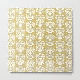 Tiki Pattern Gold Metal Print