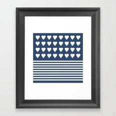 Heart Stripes Navy Framed Art Print
