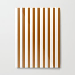 Narrow Vertical Stripes - White and Brown Metal Print