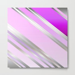 Shiny Stripes in Pink and Lilac Metal Print