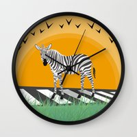 zebra Wall Clocks featuring Zebra by Nir P