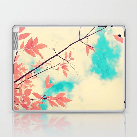 Pink fall leafs on retro vintage sky  Laptop & iPad Skin