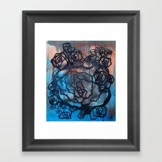 Brick and marine roses Framed Art Print