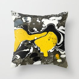 Marble Ink Yellow Black White Throw Pillow